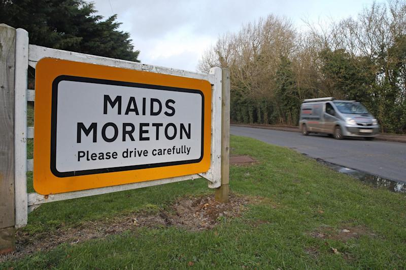A sign for Maids Moreton in Buckinghamshire (PA)