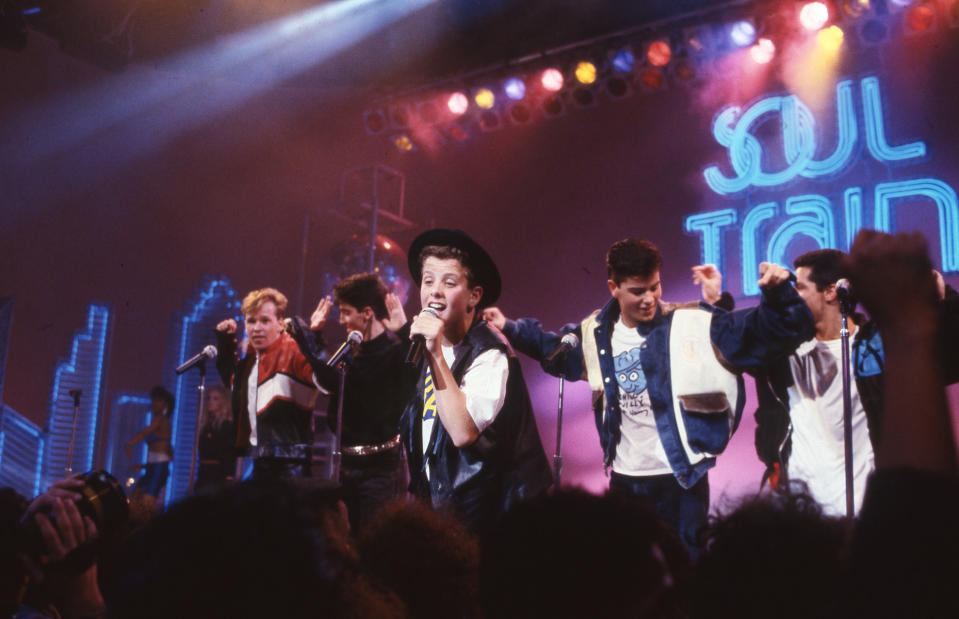 New Kids on the Block perform on 'Soul Train' in 1988. (Photo: Soul Train via Getty Images).