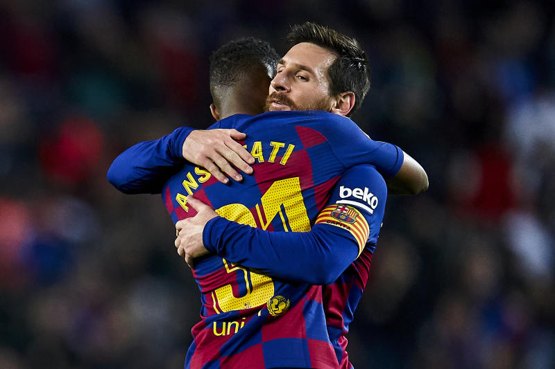 BARCELONA, SPAIN - FEBRUARY 02: Anssumane Fati and Lionel Messi of FC Barcelona celebrate their team's first goal during the Liga match between FC Barcelona and Levante UD at Camp Nou on February 02, 2020 in Barcelona, Spain. (Photo by Quality Sport Images/Getty Images)