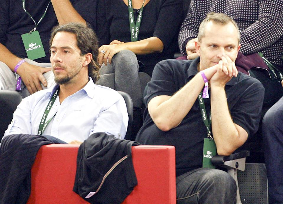 Singer Miguel Bose (R) and Nacho Palau and sculptor Nacho Palau are seen during Mutua Madrid Open tennis tournament at the Caja Magica on October 18, 2008 in Madrid (Photo by Europa Press via Getty Images)
