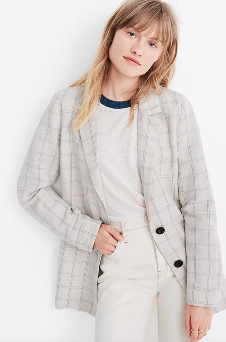 "<br><br><strong>Madewell</strong> Dorset Blazer in Windowpane, $, available at <a href=""https://go.skimresources.com/?id=30283X879131&url=https%3A%2F%2Fwww.madewell.com%2Fdorset-blazer-in-windowpane-AI160.html"" rel=""nofollow noopener"" target=""_blank"" data-ylk=""slk:Madewell"" class=""link rapid-noclick-resp"">Madewell</a>"