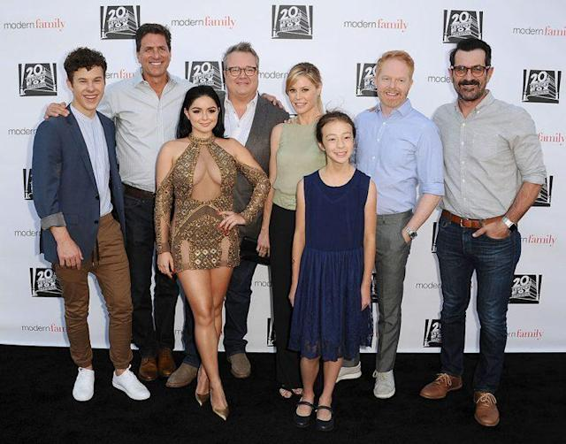 From left, Nolan Gould, Steven Levitan, Ariel Winter, Eric Stonestreet, Julie Bowen, Aubrey Anderson-Emmons, Jesse Tyler Ferguson, and Ty Burrell attend the <em>Modern Family</em> ATAS event. (Photo: Jason LaVeris/FilmMagic)