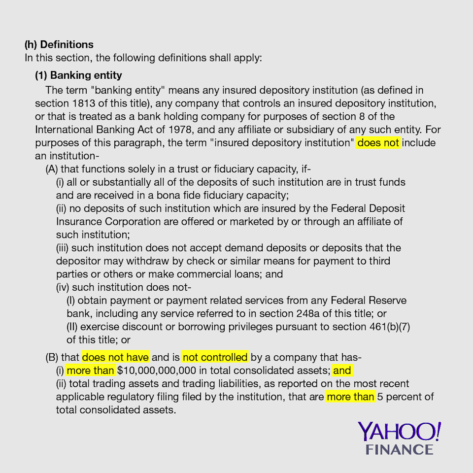 "The double negatives (highlighted) in the amended bill muddle the interpretation of what qualifies as a ""banking entity."" Under the <a href=""http://uscode.house.gov/view.xhtml?req=(title:12%20section:1851%20edition:prelim)"" rel=""nofollow noopener"" target=""_blank"" data-ylk=""slk:Bank Holding Company Act of 1956"" class=""link rapid-noclick-resp"">Bank Holding Company Act of 1956</a>, a defined ""banking entity"" is subject to the Volcker rule. Credit: David Foster / Yahoo Finance"