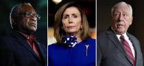 This combination of file photos shows from left, Rep. James Clyburn, D-S.C. on Feb. 29, 2020, in Columbia, S.C., House Speaker Nancy Pelosi of Calif., on July 24, 2020, in Washington and House Majority Leader Steny Hoyer, D-Md., on March 3, 2020, in Washington. Hoyer and No. 3 party leader Clyburn, Congress' highest ranking Black member, were reelected to their positions, like Pelosi without opposition on Wednesday, Nov. 18, 2020. (AP Photo)