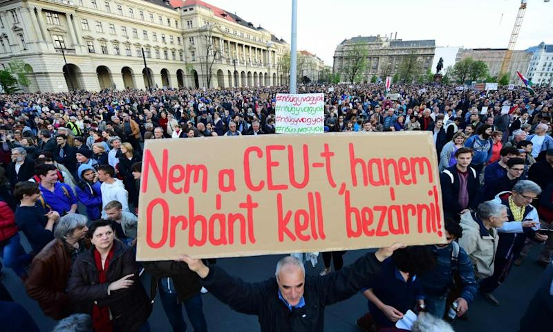 Sign that reads 'Don't close CEU, Orbán to the jail' in protest over Central European University, in Budapest