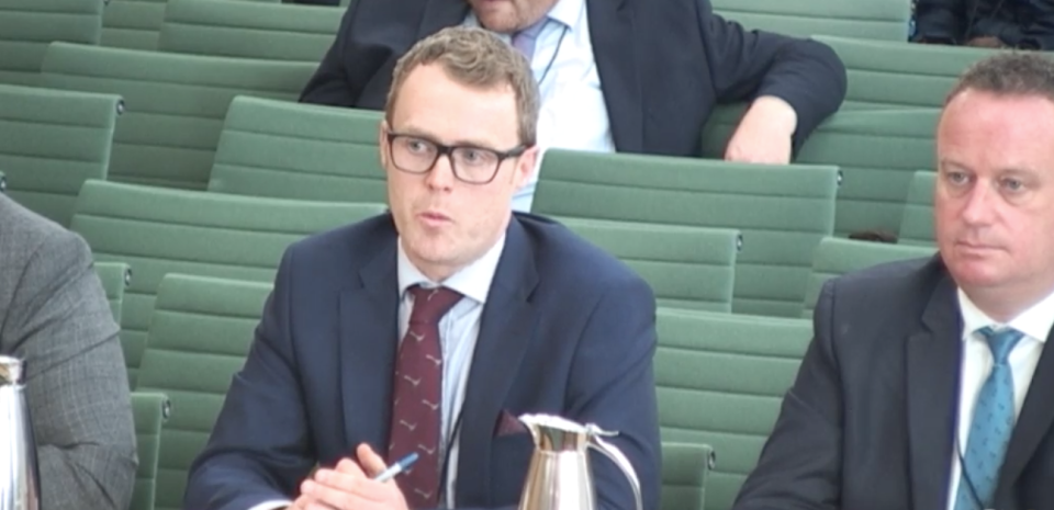 Seamus Leheny of Northern Ireland's Freight Transport Association speaking to the committee. Pic: House of Commons