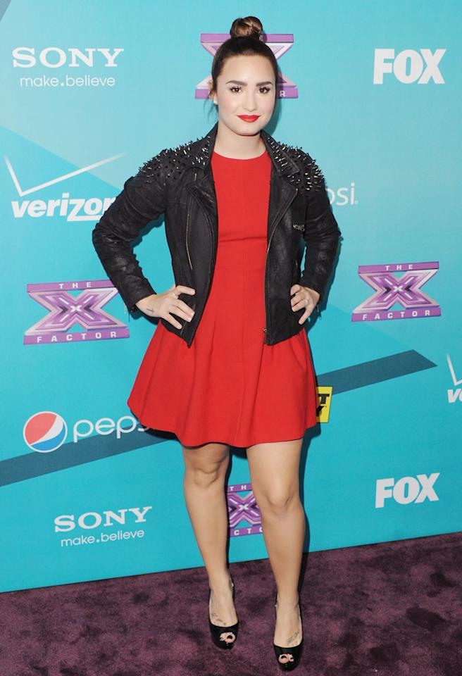 "LOS ANGELES, CA - NOVEMBER 05:  Recording artist Demi Lovato arrives at FOX's ""The X Factor"" Finalists Party at The Bazaar at the SLS Hotel Beverly Hills on November 5, 2012 in Los Angeles, California.  (Photo by Jon Kopaloff/FilmMagic)"
