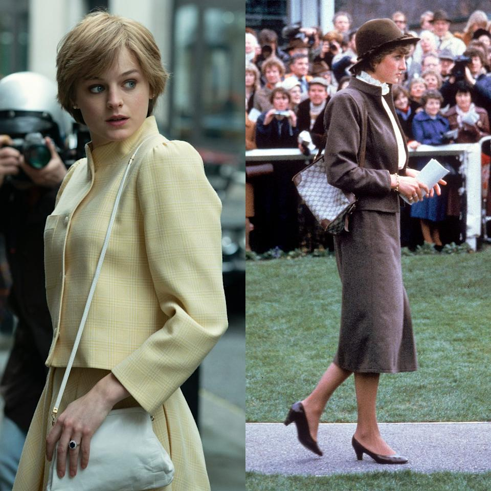 Emma Corrin wearing a classic early '80s Diana outfit in The Crown - Netflix/ Getty