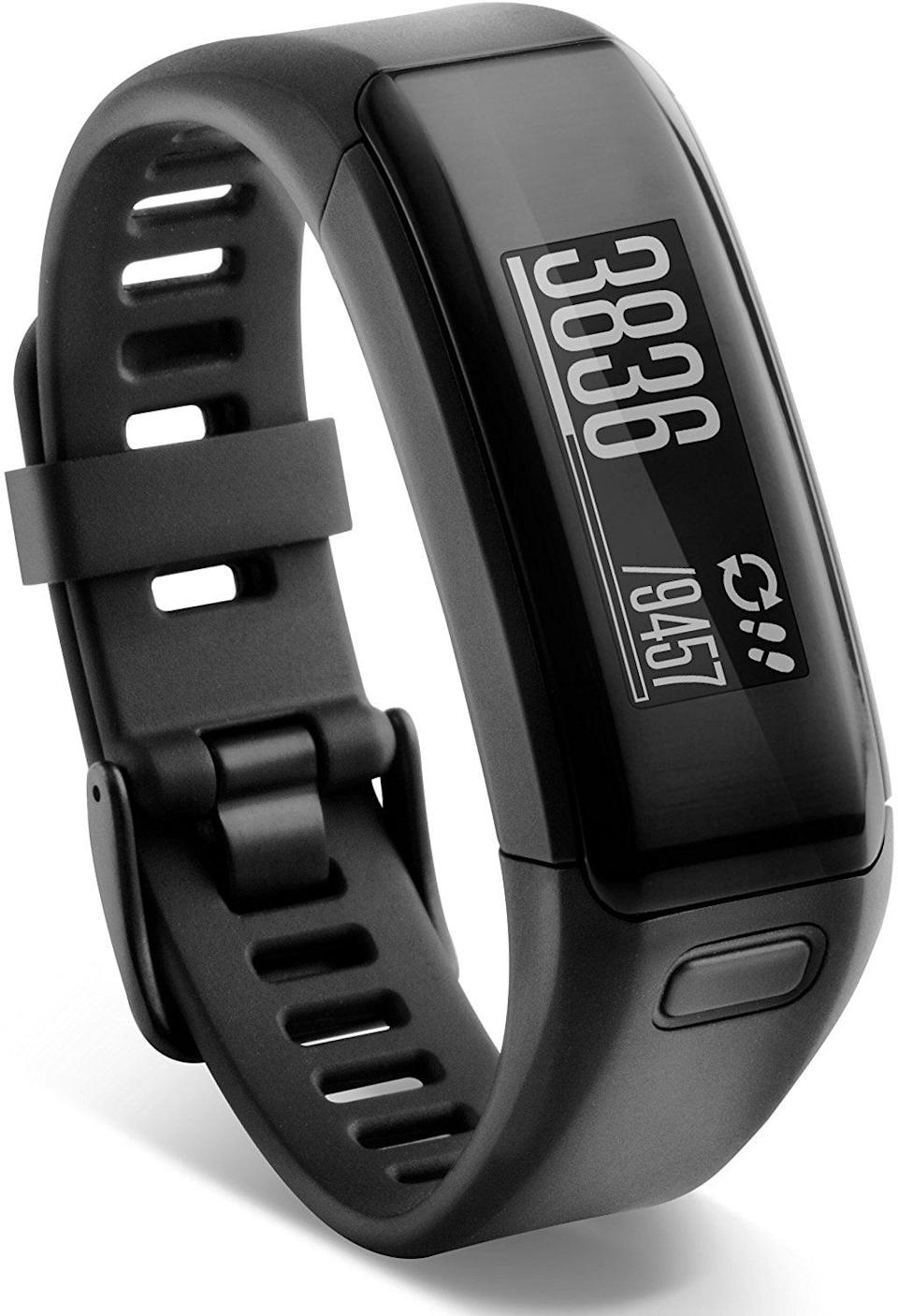 """<p><strong> The Tracker: </strong> <span>Garmin Vívosmart HR Activity Tracker Regular Fit </span> ($50)</p> <p><strong> The Rating: </strong> 4.2 stars</p> <p><strong> Why People Love It: </strong> In addition to tracking all things fitness related, this device can also receive texts, calls, emails, and social media notifications. This reviewer loved that it has so many functions. """"Personally, I really like getting notifications and being able to check the weather without having to dig out my phone. Plus, the Garmin app is getting better every day. I lost about 20 pounds over six months.""""</p>"""