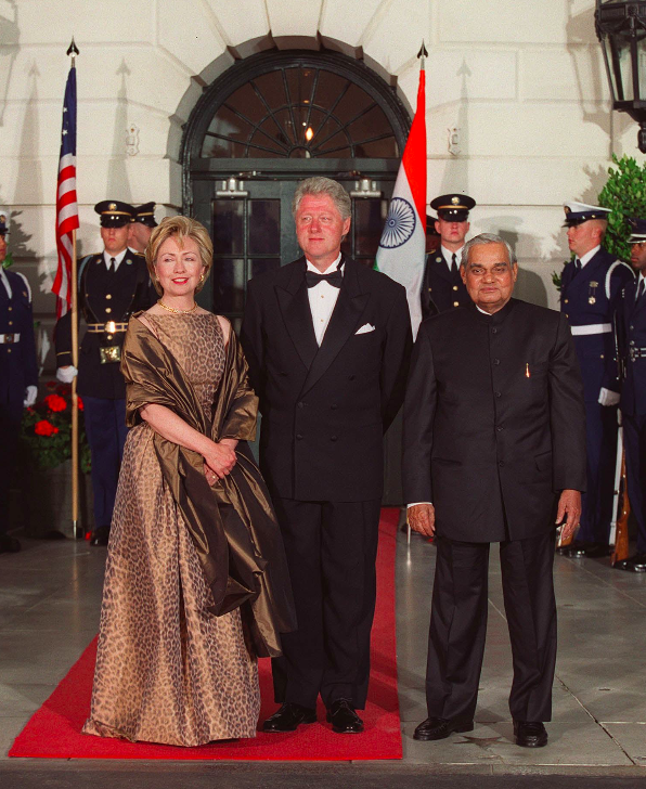 <p>Vajpayee with the then US president Bill Clinton and his wife Hillary Clinton. </p>