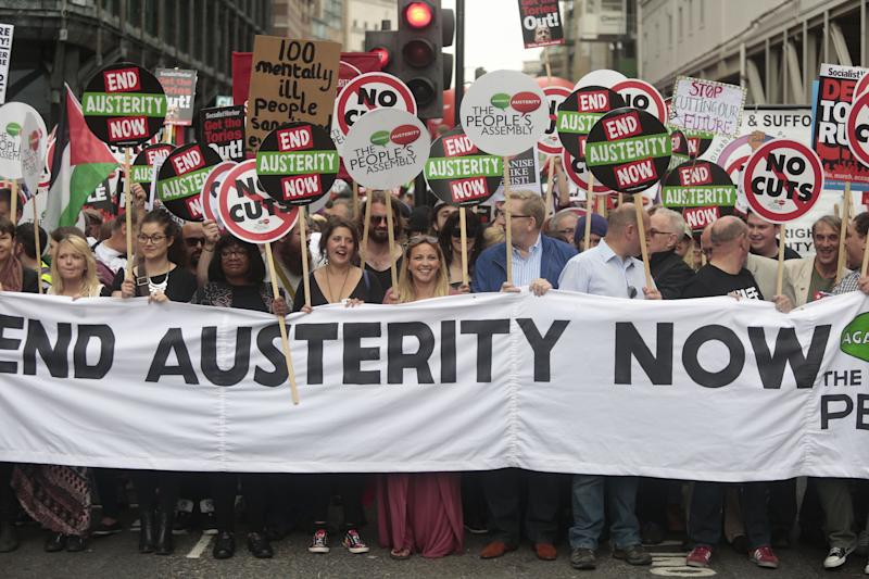 Diane Abbott MP (3rd left), Charlotte Church (centre) and General Secretary of Unite Len McCluskey (6th left, partially obscured) attend the End Austerity Now rally in London.