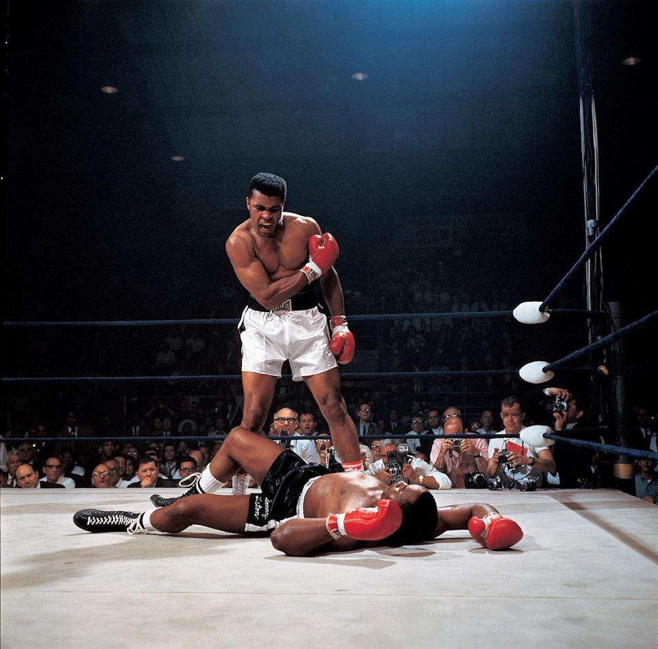 <p>1965. Getty Caption: Boxing: World Heavyweight Title: Muhammad Ali in action after first round knockout of Sonny Liston at St. Dominic's Arena.</p>