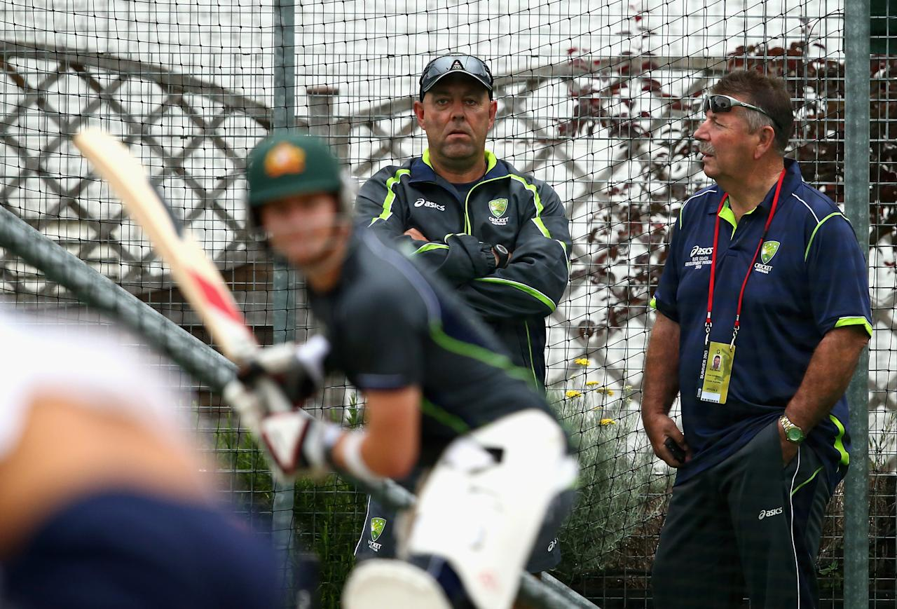 BRIGHTON, ENGLAND - JULY 25:  Darren Lehmann, coach of Australia and Rod Marsh, Australian Selector, look on during an Australian Training Session at The County Ground on July 25, 2013 in Brighton, England.  (Photo by Ryan Pierse/Getty Images)