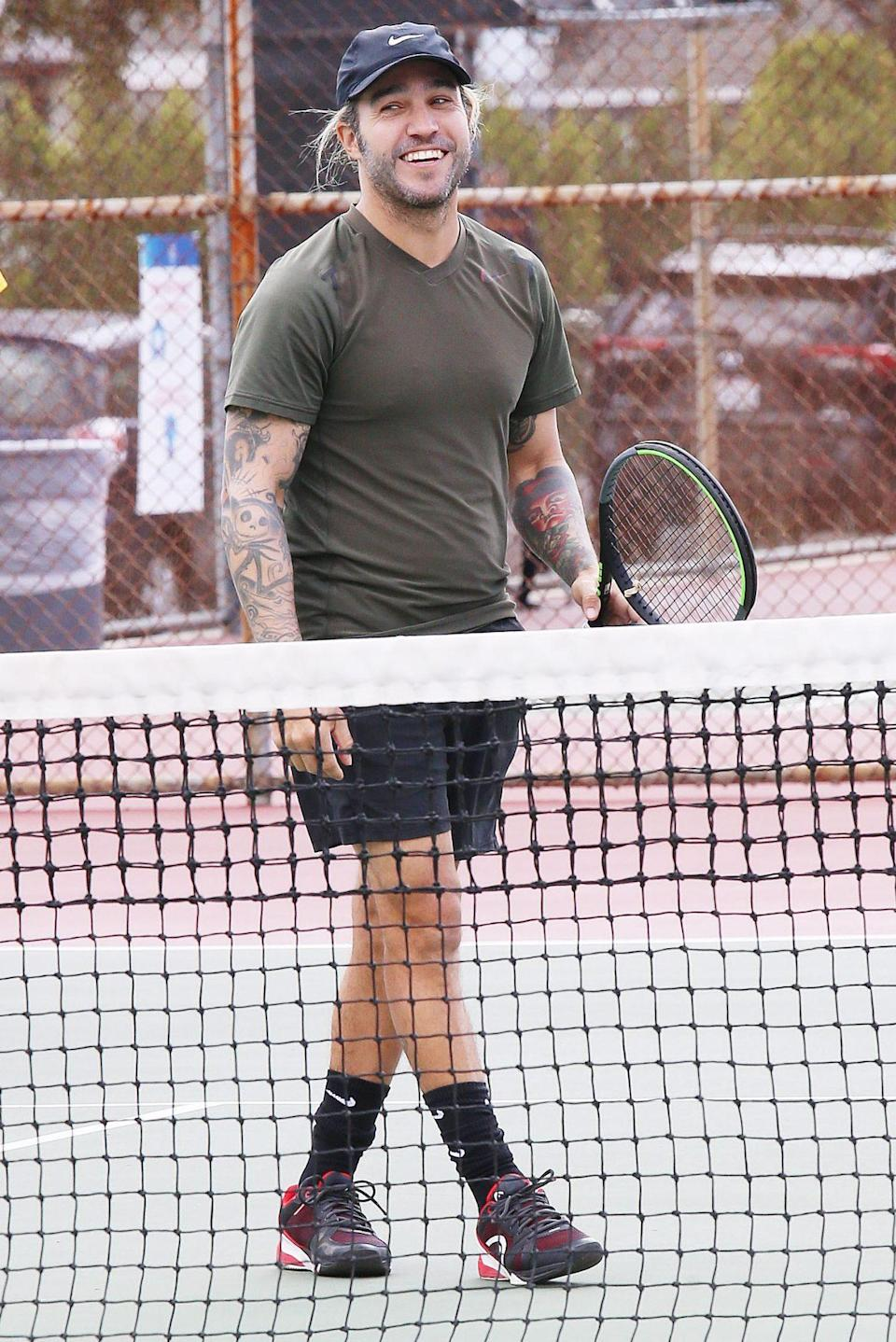 <p>Another day, another game of tennis for Pete Wentz, who takes his place on the court in Los Angeles on Monday.</p>