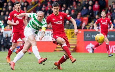 Aberdeen's lamentable history against Celtic – who they last ­defeated in February 2016, when Ronny Deila was in charge at Parkhead – continued with a 10th successive loss to the champions, for whom Moussa Dembele and Kieran Tierney scored late in each half. To add to the hosts' dismay, they could not take advantage of Mikael Lustig's dismissal with quarter of an hour left to play and, indeed, had Sam Cosgrove sent off shortly after his arrival as a substitute. Aberdeen now trail Rangers by three points and are 12 points adrift of Celtic. Celtic arrived in the Granite City with the benefit of a perfect record under Brendan Rodgers of eight wins from as many meetings with the team who finished runners-up in all three domestic competitions last season. By contrast, Aberdeen's response to the challenge of crucial contests was in question, not only because of their run of defeats against the champions but also because of three losses to Rangers in this campaign plus a trip to Easter Road which saw them well beaten by Hibernian a week previously, a setback which ended a run of six successive league victories. Derek McInnes was not aided by the absence of his captain, Graeme Shinnie, serving the second game of a two-match suspension, or that of loanee Ryan Christie, prohibited from playing against his parent club. The Aberdeen manager made two changes from the side defeated in Edinburgh and replaced Adam Rooney and Christie with Stevie May and Kari Arnason respectively. Rodgers also switched personnel after the 3-0 defeat by Zenit St Petersburg in the Europa League on Thursday, with Eboue Kouassi and Callum McGregor benched and Tom Rogic and Scott Sinclair given starts. Celtic deployed three at the back – Lustig, Jozo Simunovic and Kris Ajer – but Aberdeen could only exploit the flank space intermittently, principally on their left, where Gary Mackay-Steven was able to get to the corner flag on a couple of occasions. But his most promising delivery was wasted ­because none of his colleagues had made it into the box when the ball arrived. Celtic outmuscled Aberdeen in what has become a nightmare fixture for the Dons Credit: Jeff Holmes/PA Kenny McLean was even more frustrated on the other wing, first when he saw a wicked free-kick ­delivery fall perfectly towards the back post for Arnason. The most fractional touch would have brought a goal, but the Icelandic defender somehow failed to make the crucial contact. An equally clever overhead lofted ball from McLean skipped just beyond May's straining boot, with only Dorus de Vries to beat. These alarms woke Celtic from their post-Zenit torpor and Sinclair almost forced an improbable breakthrough with a corner-kick which skipped off the top of the crossbar. Dembele and Rogic came to life, too, each seeing efforts blocked in the box before Olivier Ntcham beat Freddie Woodman, but not the woodwork, with a shot which clipped the goalkeeper's left-hand post. Aberdeen's vulnerability was exploited nine minutes before the break when James Forrest got beyond Andrew Considine for a cross which eluded Woodman to be met towards the back post by Dembele, who had slipped away from Arnason to end a sequence of five games without a goal when he headed home almost on the line. The hour mark, normally the time for Rogic to make way, found Celtic with other concerns when Simunovic and Ajer clashed heads to leave the latter prone on the turf, in need of prolonged treatment before being allowed to continue with a bandage wrapped around his head. Celtic's Mikael Lustig is sent off Credit: Jeff Holmes/PA Rogic's departure time arrived in the 72nd minute, when he was ­replaced by McGregor, whose ­presence helped stabilise the Celtic midfield after scares which saw McLean, Niall McGinn and ­Anthony O'Connor have attempts blocked in front of goal. The leaders, however, swiftly had another problem to ­address when Lustig, who had been cautioned in the first half, clattered Mackay-Steven and was shown the inevitable red card. Aberdeen, sensing a change in fortune, began to pour forward, but the parity they achieved was not the one they sought. Instead, they were also reduced to 10 men when Cosgrove, who had been on the field for only eight minutes, scythed Scott Brown and was dismissed. Between times, they had suffered an even more damaging blow when Celtic broke upfield and Dembele fed Tierney for a shot on the run which swept beyond Woodman to guarantee yet further Aberdeen dismay in this fixture. Match details Aberdeen (4-1-4-1): Woodman; Logan, Arnason (Maynard 90) McKenna, Considine; O'Connor; McGinn, McLean, Nwakali (Rooney 82), Mackay-Steven; May (Cosgrove 76). Subs (unused): Rogers (g), Reynolds, Ball, Wright. Booked: McKenna. Sent off: Cosgrove. Celtic (3-4-2-1): De Vries; Lustig, Simunovic, Ajer; Forrest (Hendry 77), Ntcham, Brown, Tierney; Rogic (McGregor 72), Sinclair (Edouard 80); Tierney. Subs (unused): Bain (g), Miller, Kouassi, Musonda. Booked: Lustig. Sent off: Lustig. Referee: John Beaton.