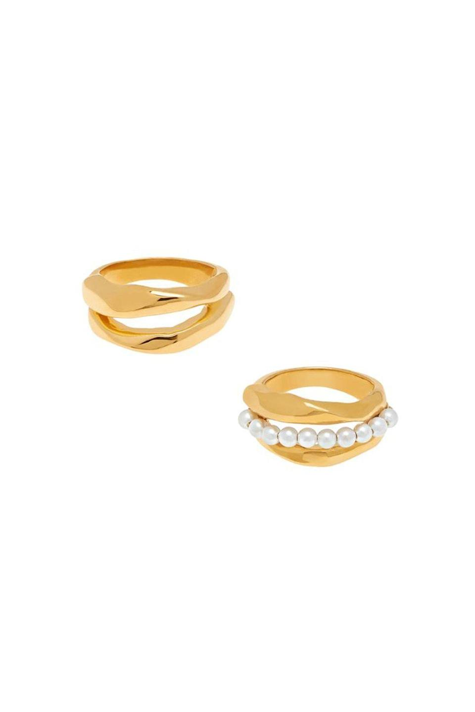 """<p><strong>MISHO</strong></p><p>mishodesigns.com</p><p><strong>$118.71</strong></p><p><a href=""""https://www.mishodesigns.com/collections/rings-1/products/bora-bora-stack-rings?variant=33717736734808"""" rel=""""nofollow noopener"""" target=""""_blank"""" data-ylk=""""slk:Shop Now"""" class=""""link rapid-noclick-resp"""">Shop Now</a></p><p>The only thing better than one pearl ring is stacking multiples of them. These Bora Bora rings are based on the Polynesian myth that pearls are created as the moon bathes the ocean in its light. </p>"""