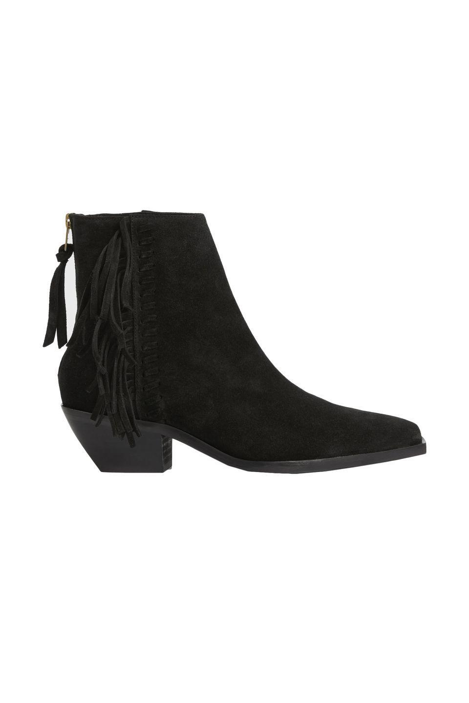 """<p><a class=""""link rapid-noclick-resp"""" href=""""https://go.redirectingat.com?id=127X1599956&url=https%3A%2F%2Fwww.allsaints.com%2Fwomen%2Fboots-and-shoes%2Fallsaints-layla-fringe-boot%2F&sref=https%3A%2F%2Fwww.harpersbazaar.com%2Fuk%2Ffashion%2Fwhat-to-wear%2Fg18720504%2Fbest-cowboy-boots%2F"""" rel=""""nofollow noopener"""" target=""""_blank"""" data-ylk=""""slk:SHOP NOW"""">SHOP NOW</a></p><p>Just like Saint Laurent in the Hedi Slimane days, AllSaints always stays true to its distinctively rock 'n' roll aesthetic – which, as it happens, incorporates a few western design elements. It's evolved, of course; so while these fringed suede ankle boots would have looked great with skinny jeans a few years back, now we'll be teaming them with flares instead. </p><p>Suede fringed ankle boots, £269, <a href=""""https://go.redirectingat.com?id=127X1599956&url=https%3A%2F%2Fwww.allsaints.com%2Fwomen%2Fboots-and-shoes%2Fallsaints-layla-fringe-boot%2F&sref=https%3A%2F%2Fwww.harpersbazaar.com%2Fuk%2Ffashion%2Fwhat-to-wear%2Fg18720504%2Fbest-cowboy-boots%2F"""" rel=""""nofollow noopener"""" target=""""_blank"""" data-ylk=""""slk:allsaints.com"""" class=""""link rapid-noclick-resp"""">allsaints.com</a></p>"""