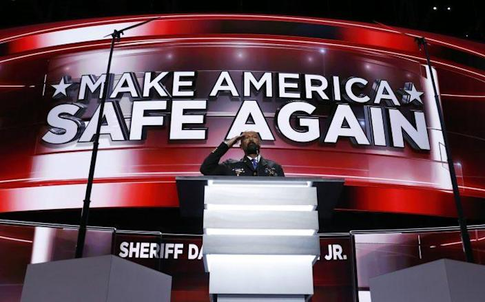 David Clarke addresses delegates at the Republican National Convention in July. (Photo: Carolyn Kaster/AP)