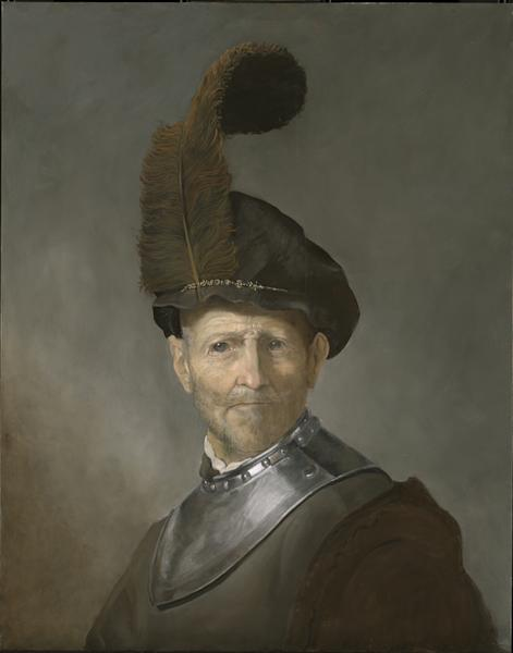 "Final mock-up of Rembrandt's ""Old Man in Military Costume."""