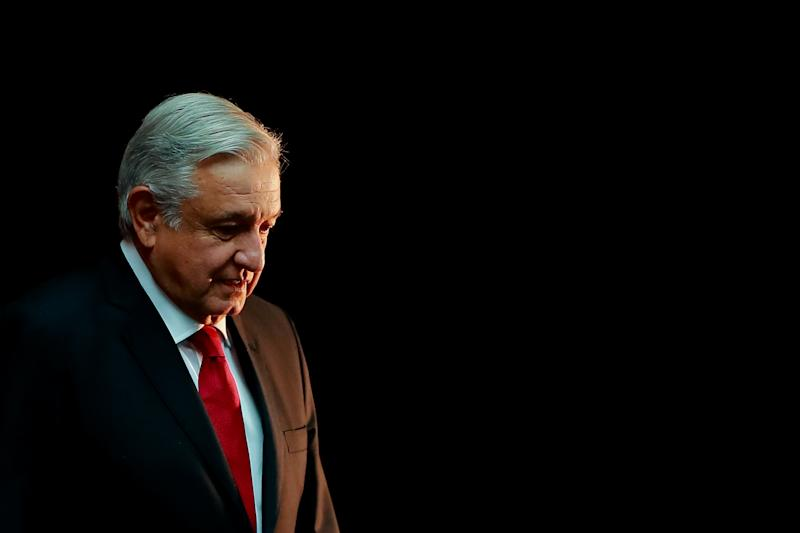 MEXICO CITY, MEXICO - OCTOBER 17: Andres Manuel Lopez Obrador, President of Mexico gestures during a state visit to Mexico at Palacio Nacional on October 17, 2019 in Mexico City, Mexico. (Photo by Hector Vivas/Getty Images)
