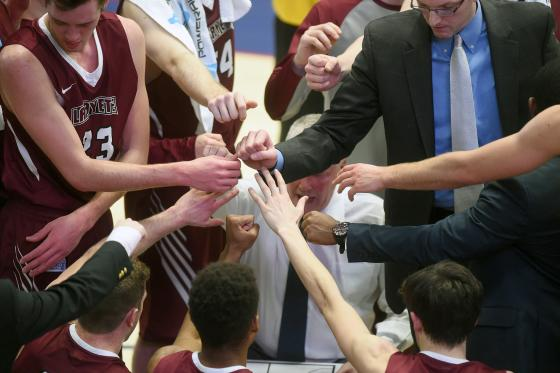 he Lafayette Leopards huddle during a college basketball game against the American University Eagles at Bender Arena on January 18, 2017 in Washington, DC. The Eagles won 71-57.