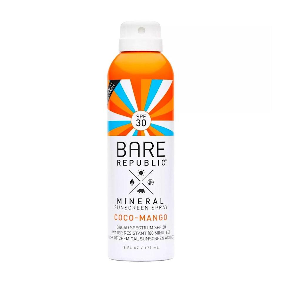 """I can't get enough of the sweet coconut and mango scent of Bare Republic Coco-Mango Mineral Sunscreen Spray as I mist it across my body. The lightweight, hydrating formula protects skin from UV rays and features raspberry, grape, and carrot seed oils, which work in tandem to fight free radicals. $15, Amazon. <a href=""""https://www.amazon.com/Bare-Republic-Mineral-Sunscreen-Natural/dp/B07R5CLB5D"""" rel=""""nofollow noopener"""" target=""""_blank"""" data-ylk=""""slk:Get it now!"""" class=""""link rapid-noclick-resp"""">Get it now!</a>"""