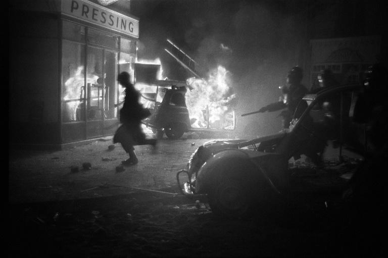 Students and security forces clash in Paris's Latin Quarter during the night of 10-11 May, 1968