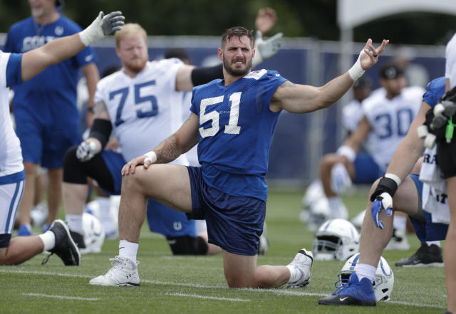 In this Friday, July 27, 2018 photo, Indianapolis Colts linebacker Jabaal Sheard (93) warms up during practice at the NFL team's football training camp in Westfield, Ind. (AP Photo/Michael Conroy)