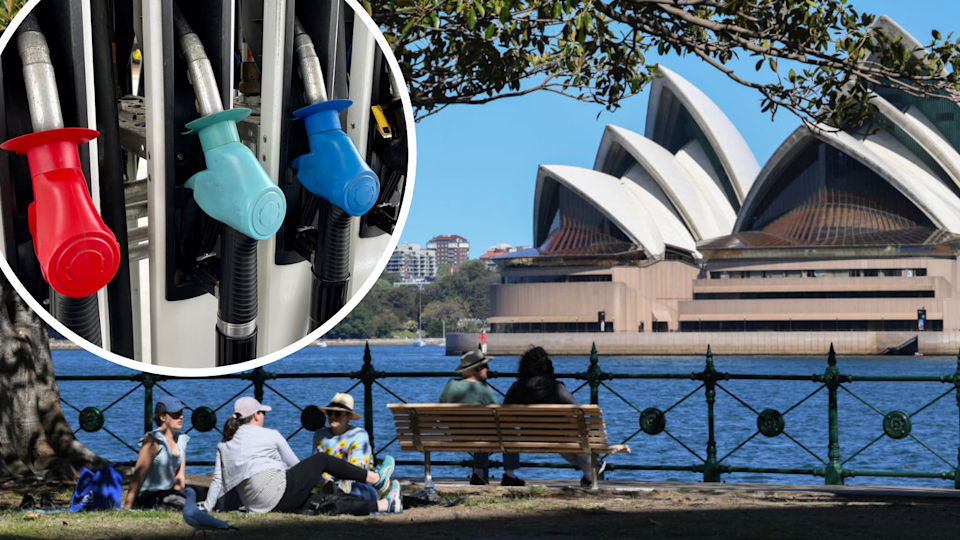 Image of picnickers in front of the Opera House; image of fuel pumps