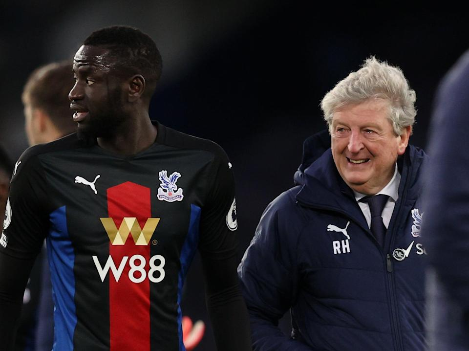 Crystal Palace midfielder Cheikhou Kouyate and coach Roy Hodgson (Getty Images)