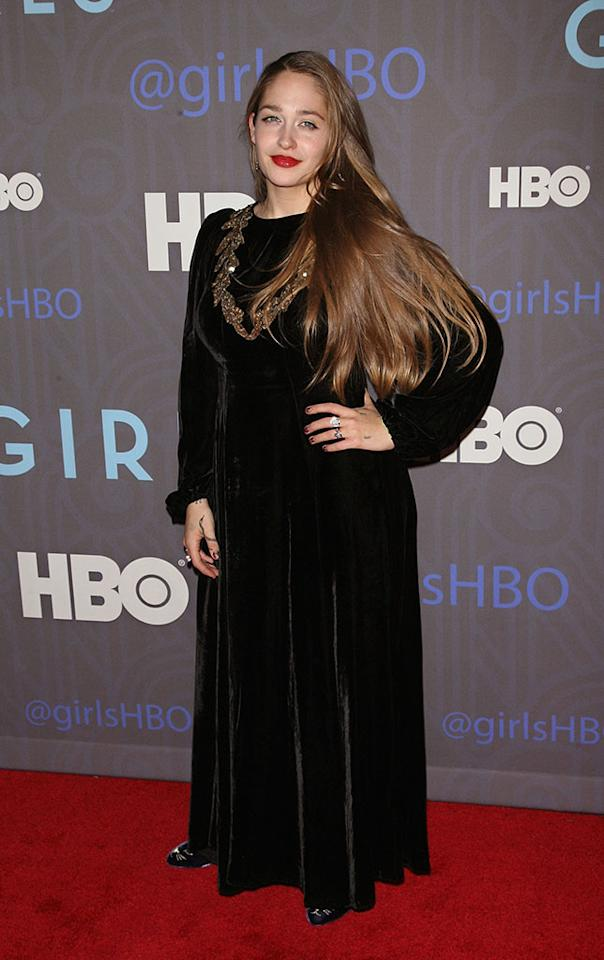"Jemima Kirke attends HBO's premiere of ""Girls"" Season 2 at the NYU Skirball Center on January 9, 2013 in New York City."
