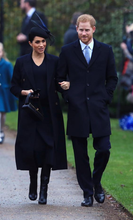 The Duke and Duchess of Sussex arrive to attend the Christmas Day church service at Church of St Mary Magdalene on the Sandringham estate on 25 December 2018 (Getty Images)