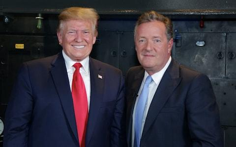 Donald Trump, with Piers Morgan during his interview in the Churchill War Rooms - Credit: PA