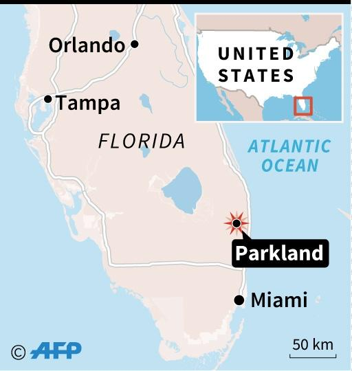 Map locating Parkland, Florida, where at least 17 people were killed in a shooting at a high school (AFP Photo/Kun TIAN)