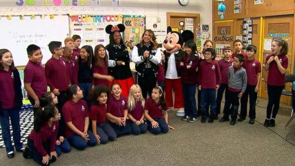 PHOTO: Ginger Zee surprised Disney super fan Patrice Jenkins, a teacher, in her classroom in Hinsdale, Ill. (ABC News)