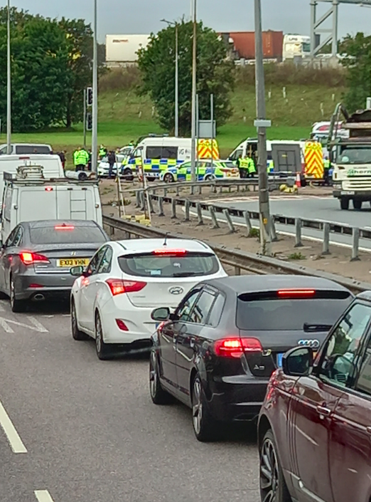 Traffic builds up as Insulate Britain protesters stage another sit-in on the M25. (PA)