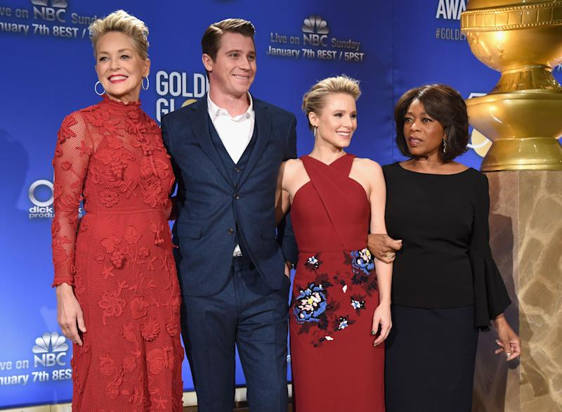 BEVERLY HILLS, CA - DECEMBER 11: (L-R) Actors Sharon Stone, Garrett Hedlund, Kristen Bell and Alfre Woodard attend Moet & Chandon Toasts The 75th Annual Golden Globe Awards Nominations at The Beverly Hilton Hotel on December 11, 2017 in Beverly Hills, California. (Photo by Michael Kovac/Getty Images for Moet & Chandon )
