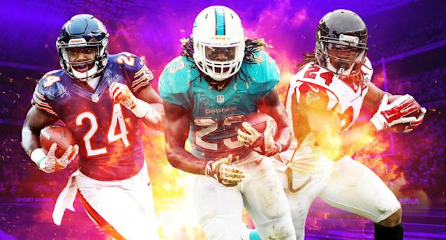 "Which running back should you pick in your fantasy draft between <a class=""link rapid-noclick-resp"" href=""/nfl/players/29384/"" data-ylk=""slk:Jordan Howard"">Jordan Howard</a>, <a class=""link rapid-noclick-resp"" href=""/nfl/players/28537/"" data-ylk=""slk:Jay Ajayi"">Jay Ajayi</a> and  <a class=""link rapid-noclick-resp"" href=""/nfl/players/27631/"" data-ylk=""slk:Devonta Freeman"">Devonta Freeman</a>?"