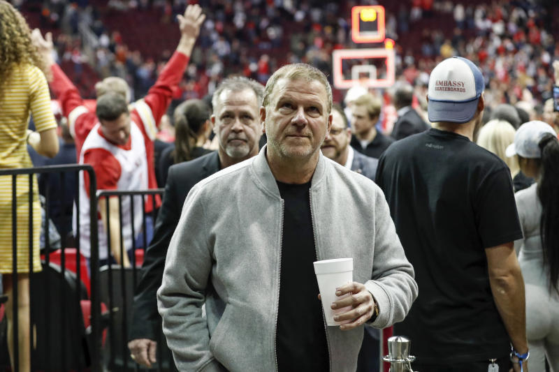 HOUSTON, TX - MARCH 15: Houston Rockets owner Tilman Fertitta leaves the court after the game against the Phoenix Suns at Toyota Center on March 15, 2019 in Houston, Texas. NOTE TO USER: User expressly acknowledges and agrees that, by downloading and or using this photograph, User is consenting to the terms and conditions of the Getty Images License Agreement. (Photo by Tim Warner/Getty Images)