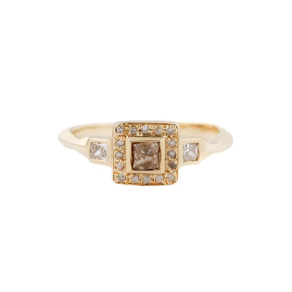 """<p>With an 18k gold band and white cushion-cut side diamonds surrounding the octagonal-shaped brown center diamond, the <a href=""""https://www.popsugar.com/buy/Esmee-Ring-532655?p_name=Esmee%20Ring&retailer=tkahresjewelry.com&pid=532655&price=2%2C830&evar1=fab%3Aus&evar9=47015200&evar98=https%3A%2F%2Fwww.popsugar.com%2Ffashion%2Fphoto-gallery%2F47015200%2Fimage%2F47025518%2FSubtle-Colors-Esmee-Ring&list1=shopping%2Cjewelry%2Crings%2Cengagement%20rings&prop13=mobile&pdata=1"""" rel=""""nofollow noopener"""" class=""""link rapid-noclick-resp"""" target=""""_blank"""" data-ylk=""""slk:Esmee Ring"""">Esmee Ring</a> ($2,830) is gorgeous and unique in every way.</p>"""