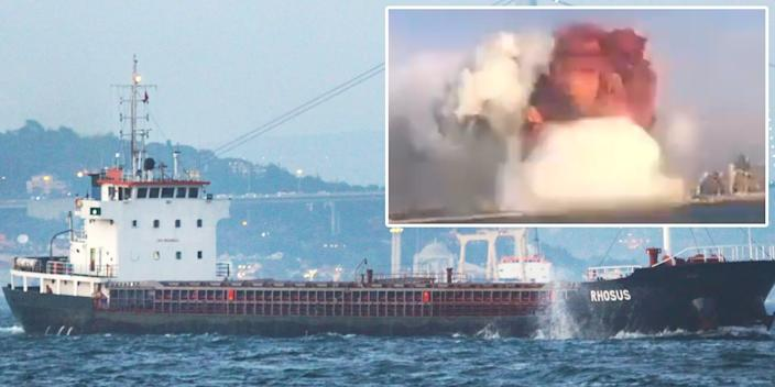 <br>A 2010 stock image of the MV Rhosus cargo ship, overlaid with an image from social media video of the explosion in Beirut, Lebanon, on August 4, 2020.