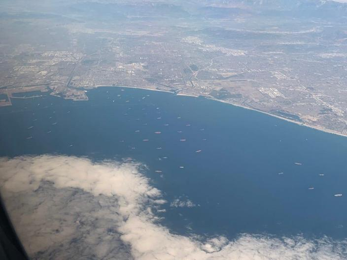 Aerial view of coast of Southern California port backlog