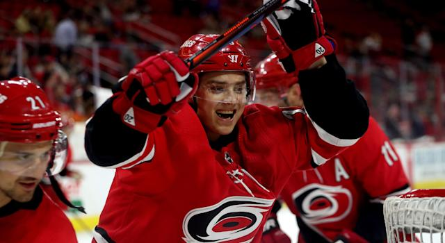 The Carolina Hurricanes' social team had some fun with the Montreal Canadiens sending a lacklustre offer sheet Sebastian Aho's way. (Photo by Gregg Forwerck/NHLI via Getty Images)