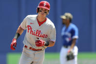 Philadelphia Phillies' Nick Maton rounds the bases after hitting a home run against the Toronto Blue Jays during the fifth inning of a baseball game Sunday, May 16, 2021, in Dunedin, Fla. It was Maton's first major league home run. (AP Photo/Mike Carlson)