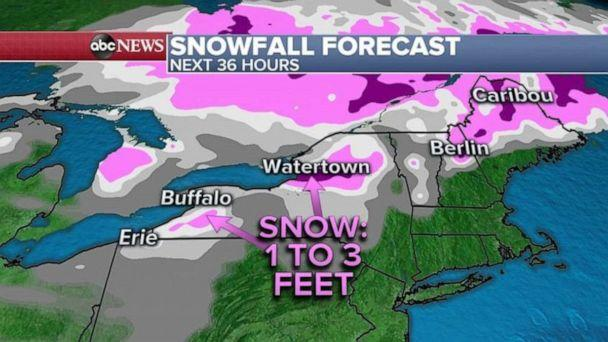 PHOTO: Some areas in Western New Yor could see more than 3 feet of snow. This would be the biggest lake effect snow of the season for the Northeast. (ABC News)