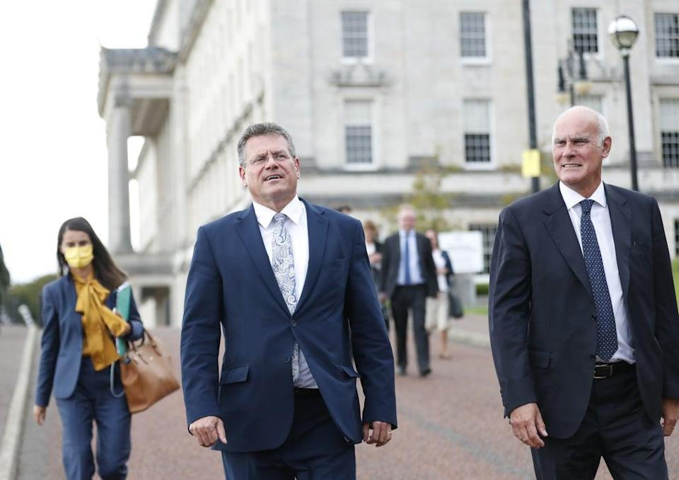 European Commission vice president Maros Sefcovic leaves Parliament Buildings at Stormont (Peter Morrison/PA) (PA Wire)