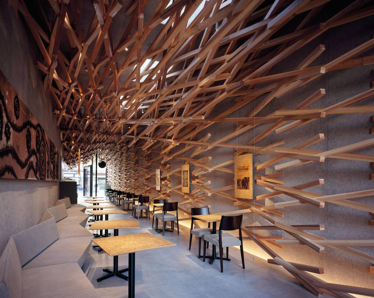Kengo Kuma designs the world's most peaceful Starbucks  If all Starbucks cafes looked like this, it would almost certainly put an end to take-out drinks! After all, who would want to leave a building this tranquil?  Architects at Tokyo-based and world-renowned Kengo Kuma & Associates firm have designed a Starbucks store in Japan that draws on its peaceful surroundings. Located in the Fukuoka Perfecture, it can be found on a street leading directly to the Dazaifu Tenmagu holy shrine, which is dedicated to a Japanese deity.   Fukuoka, Japan - 21.03.12  Mandatory Credit: Masao Nishikawa/WENN.Com Supplied by WENN.com