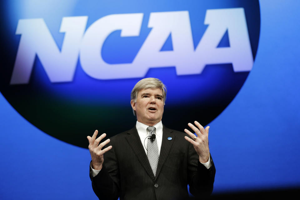 FILE - In this Jan. 17, 2013, file photo, NCAA President Mark Emmert speaks at the organization's annual convention in Grapevine, Texas. Emmert is now the second-longest tenured leader in the long history of the NCAA. Over 11 years, he has guided the NCAA through a period of unprecedented change amid relentless criticism. (AP Photo/LM Otero, File)