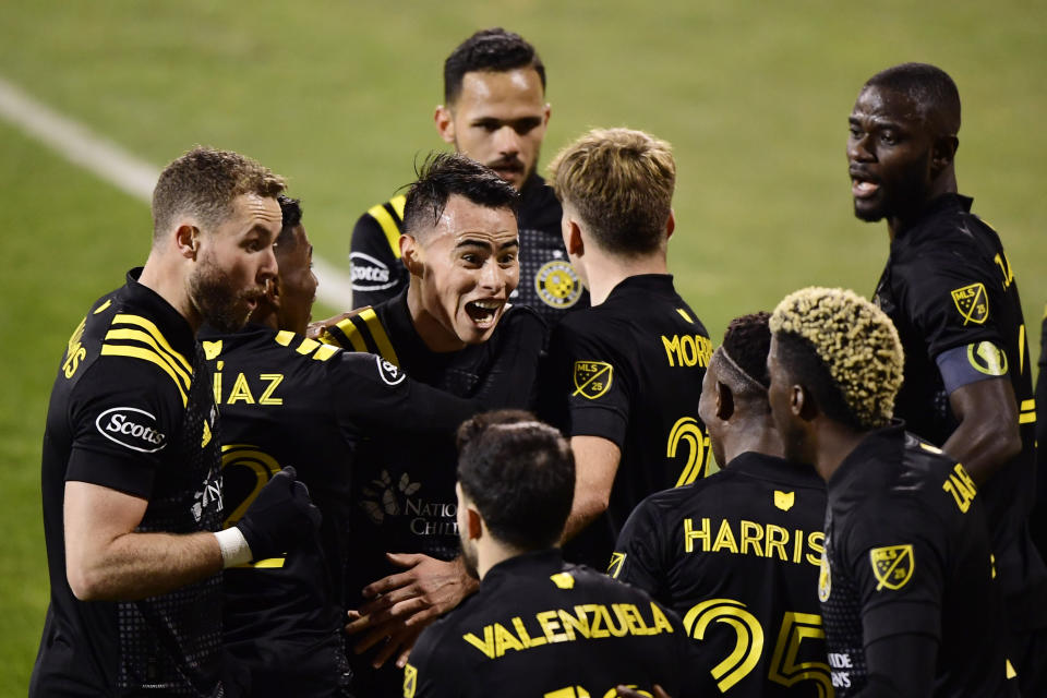COLUMBUS, OHIO - DECEMBER 12: Lucas Zelarayan #10 of Columbus Crew celebrates his goal in the first half during the MLS Cup Final against the Seattle Sounders at MAPFRE Stadium on December 12, 2020 in Columbus, Ohio. (Photo by Emilee Chinn/Getty Images)