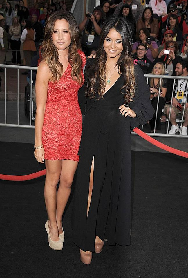 "Fresh from their all-girl getaway in Cabo San Lucas, Mexico, former ""High School Musical"" co-stars and real-life BFFs Ashley Tisdale and Vanessa Hudgens also made an appearance at the ""Pirates"" premiere. Who looked hotter ... Ashley (in a Brian Lichtenberg lace dress and suede YSL heels) or Vanessa (in a flirty black frock and patent leather platform pumps)? Steve Granitz/<a href=""http://www.wireimage.com"" target=""new"">WireImage.com</a> - May 7, 2011"